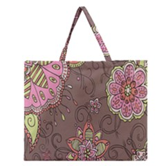 Ice Cream Flower Floral Rose Sunflower Leaf Star Brown Zipper Large Tote Bag