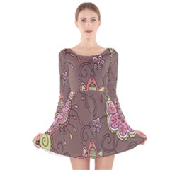 Ice Cream Flower Floral Rose Sunflower Leaf Star Brown Long Sleeve Velvet Skater Dress