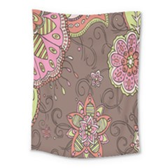 Ice Cream Flower Floral Rose Sunflower Leaf Star Brown Medium Tapestry by Alisyart