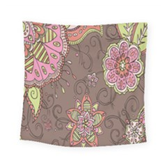Ice Cream Flower Floral Rose Sunflower Leaf Star Brown Square Tapestry (small)