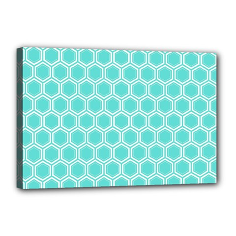 Plaid Circle Blue Wave Canvas 18  X 12