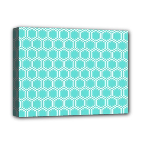 Plaid Circle Blue Wave Deluxe Canvas 16  X 12   by Alisyart