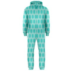 Plaid Circle Blue Wave Hooded Jumpsuit (men)