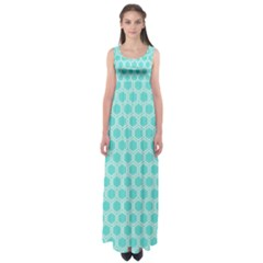 Plaid Circle Blue Wave Empire Waist Maxi Dress by Alisyart