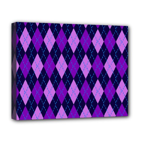 Plaid Triangle Line Wave Chevron Blue Purple Pink Beauty Argyle Deluxe Canvas 20  X 16   by Alisyart