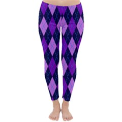 Plaid Triangle Line Wave Chevron Blue Purple Pink Beauty Argyle Classic Winter Leggings