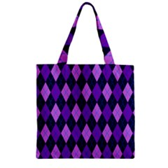 Plaid Triangle Line Wave Chevron Blue Purple Pink Beauty Argyle Zipper Grocery Tote Bag by Alisyart