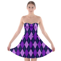 Plaid Triangle Line Wave Chevron Blue Purple Pink Beauty Argyle Strapless Bra Top Dress by Alisyart