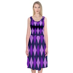 Plaid Triangle Line Wave Chevron Blue Purple Pink Beauty Argyle Midi Sleeveless Dress