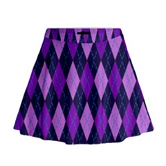 Plaid Triangle Line Wave Chevron Blue Purple Pink Beauty Argyle Mini Flare Skirt by Alisyart