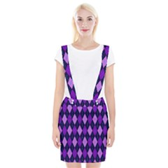 Plaid Triangle Line Wave Chevron Blue Purple Pink Beauty Argyle Suspender Skirt by Alisyart