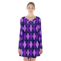 Plaid Triangle Line Wave Chevron Blue Purple Pink Beauty Argyle Long Sleeve Velvet V Neck Dress