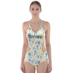 Flower Floral Bird Peacok Sunflower Star Leaf Rose Cut Out One Piece Swimsuit
