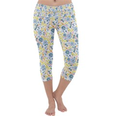 Flower Floral Bird Peacok Sunflower Star Leaf Rose Capri Yoga Leggings by Alisyart