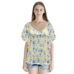 Flower Floral Bird Peacok Sunflower Star Leaf Rose Flutter Sleeve Top