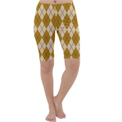 Plaid Triangle Line Wave Chevron Orange Red Grey Beauty Argyle Cropped Leggings