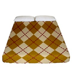 Plaid Triangle Line Wave Chevron Orange Red Grey Beauty Argyle Fitted Sheet (king Size)