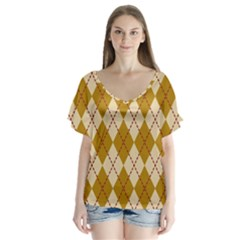 Plaid Triangle Line Wave Chevron Orange Red Grey Beauty Argyle Flutter Sleeve Top