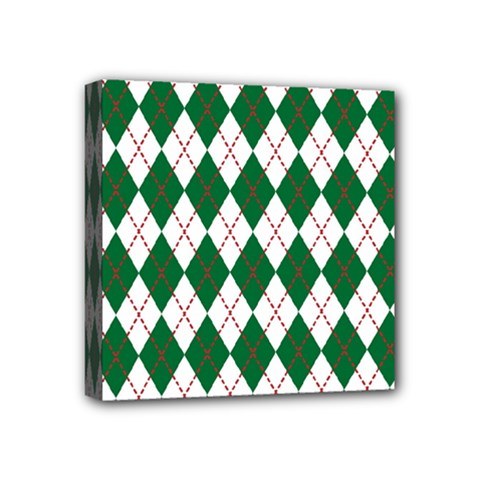 Plaid Triangle Line Wave Chevron Green Red White Beauty Argyle Mini Canvas 4  X 4  by Alisyart
