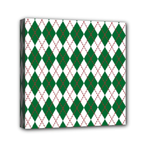 Plaid Triangle Line Wave Chevron Green Red White Beauty Argyle Mini Canvas 6  X 6  by Alisyart