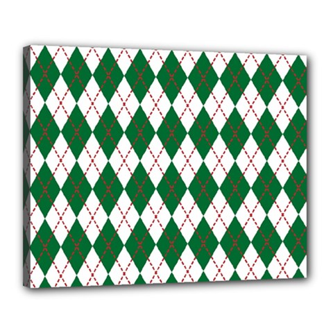 Plaid Triangle Line Wave Chevron Green Red White Beauty Argyle Canvas 20  X 16  by Alisyart