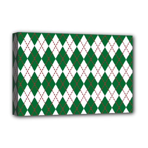 Plaid Triangle Line Wave Chevron Green Red White Beauty Argyle Deluxe Canvas 18  X 12   by Alisyart