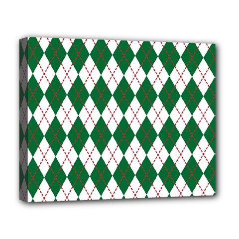 Plaid Triangle Line Wave Chevron Green Red White Beauty Argyle Deluxe Canvas 20  X 16   by Alisyart