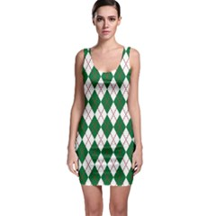 Plaid Triangle Line Wave Chevron Green Red White Beauty Argyle Sleeveless Bodycon Dress by Alisyart