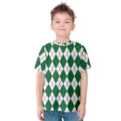 Plaid Triangle Line Wave Chevron Green Red White Beauty Argyle Kids  Cotton Tee