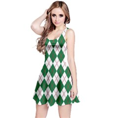 Plaid Triangle Line Wave Chevron Green Red White Beauty Argyle Reversible Sleeveless Dress