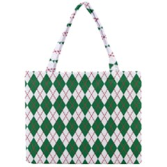 Plaid Triangle Line Wave Chevron Green Red White Beauty Argyle Mini Tote Bag