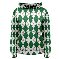 Plaid Triangle Line Wave Chevron Green Red White Beauty Argyle Women s Pullover Hoodie