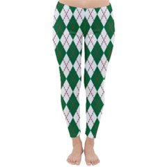 Plaid Triangle Line Wave Chevron Green Red White Beauty Argyle Classic Winter Leggings