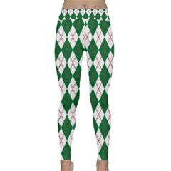 Plaid Triangle Line Wave Chevron Green Red White Beauty Argyle Classic Yoga Leggings