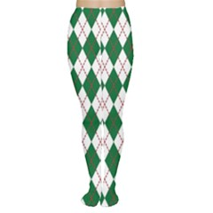 Plaid Triangle Line Wave Chevron Green Red White Beauty Argyle Women s Tights