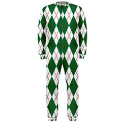 Plaid Triangle Line Wave Chevron Green Red White Beauty Argyle Onepiece Jumpsuit (men)  by Alisyart