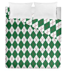 Plaid Triangle Line Wave Chevron Green Red White Beauty Argyle Duvet Cover Double Side (queen Size) by Alisyart