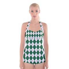 Plaid Triangle Line Wave Chevron Green Red White Beauty Argyle Boyleg Halter Swimsuit