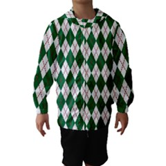 Plaid Triangle Line Wave Chevron Green Red White Beauty Argyle Hooded Wind Breaker (kids) by Alisyart