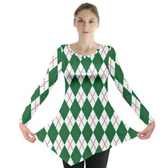 Plaid Triangle Line Wave Chevron Green Red White Beauty Argyle Long Sleeve Tunic  by Alisyart