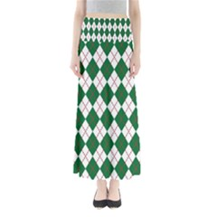 Plaid Triangle Line Wave Chevron Green Red White Beauty Argyle Maxi Skirts by Alisyart