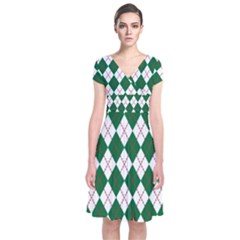 Plaid Triangle Line Wave Chevron Green Red White Beauty Argyle Short Sleeve Front Wrap Dress by Alisyart