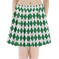 Plaid Triangle Line Wave Chevron Green Red White Beauty Argyle Pleated Mini Skirt by Alisyart