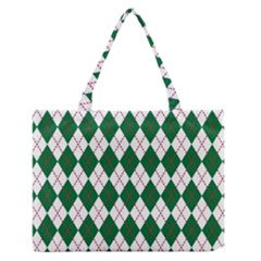 Plaid Triangle Line Wave Chevron Green Red White Beauty Argyle Medium Zipper Tote Bag by Alisyart