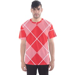 Plaid Triangle Line Wave Chevron Red White Beauty Argyle Men s Sport Mesh Tee by Alisyart