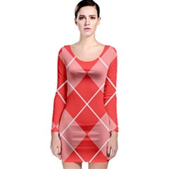 Plaid Triangle Line Wave Chevron Red White Beauty Argyle Long Sleeve Bodycon Dress by Alisyart