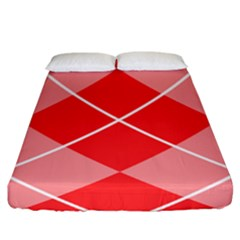 Plaid Triangle Line Wave Chevron Red White Beauty Argyle Fitted Sheet (king Size)