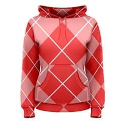 Plaid Triangle Line Wave Chevron Red White Beauty Argyle Women s Pullover Hoodie