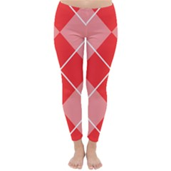 Plaid Triangle Line Wave Chevron Red White Beauty Argyle Classic Winter Leggings