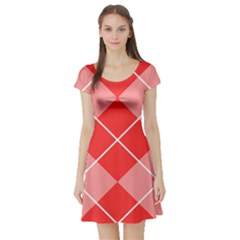 Plaid Triangle Line Wave Chevron Red White Beauty Argyle Short Sleeve Skater Dress